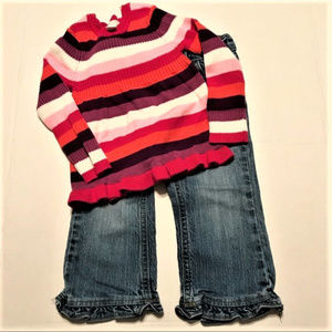 CHILDREN'S PLACE 24 Mo Jeans Sweater Ruffle Bundle